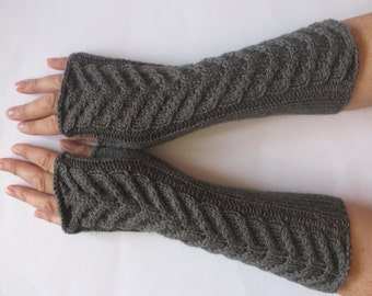 "Fingerless Gloves Long Dark Gray 10"" Mittens Arm Warmers, Acrylic Wool"