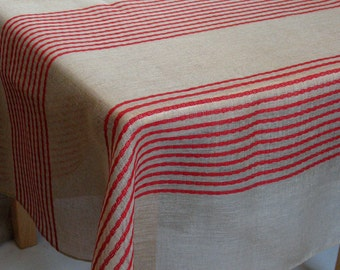 """Linen Tablecloth Natural Red Gray Stripes 77"""" x 53"""""""