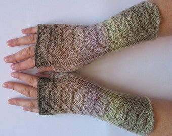 Fingerless Gloves Violet Purple Green Beige Brown Long Mittens Arm Warmers Acrylic Wool