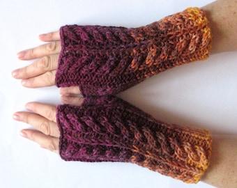 Fingerless Gloves wrist warmers Violet Purple Brown Orange Beige knit