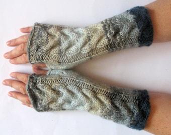 Fingerless Gloves Gray Blue Green wrist warmers