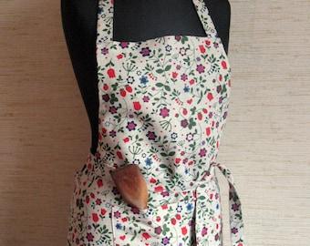Linen Kitchen Utility Apron Womens Aprons for women Christmas Apron Gardening Apron Teachers Apron Gray Flowers Flower