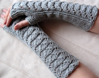 """Long Fingerless Gloves Gray 12"""" Arm Warmers  Mittens Soft Acrylic"""
