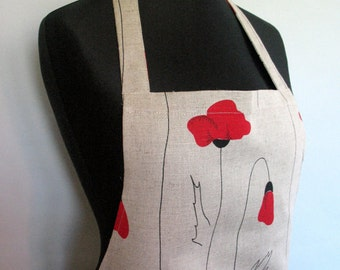 Linen Kitchen Utility Apron Womens Aprons for women Valentines Day Christmas Gift Apron Teachers Apron Gray Poppies Flowers