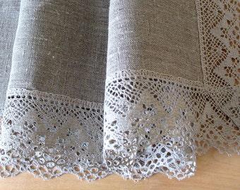 "Square Tablecloth Natural Gray Vintage Tablecloth Lace Tablecloth Linen Tablecloth Burlap Tablecloth Prewashed Linen Lace 43.5"" x 43,5"""