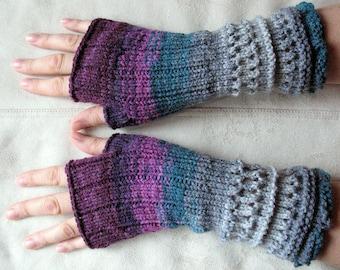 Fingerless Gloves Mittens wrist warmers Violet Purple Blue Burgundy Green Gray Dove, knit