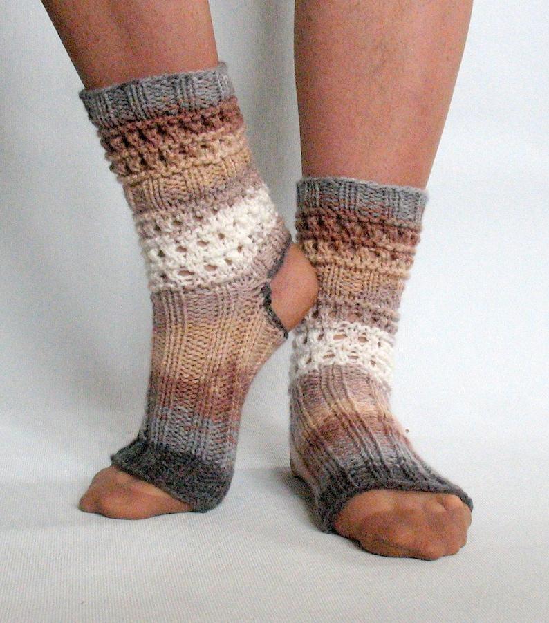 Yoga Socks Dance Pilates Ballet Brown Beige Gray Leg Warmers ankle warmers dancer