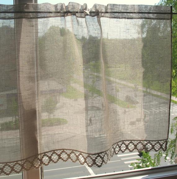 Gardinen Spitze Vorhänge Natürlichen Grauen Cafe Vorhänge Etsy