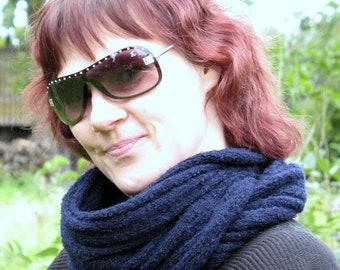 Black Blue Infinity Scarf Cowl Wrap