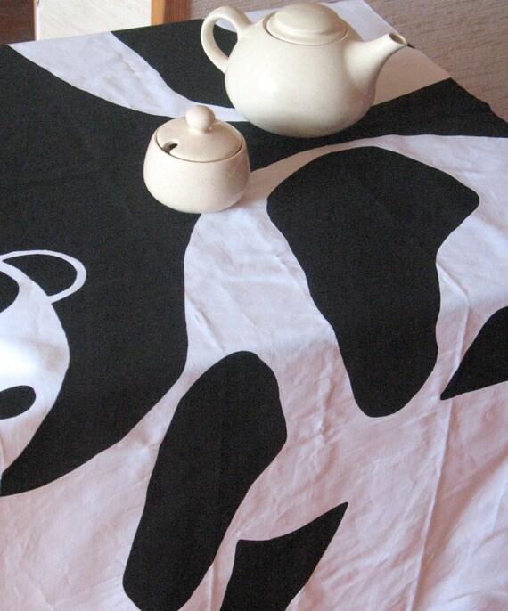 schwedische tischdecke panda natur schwarz wei tischl ufer etsy. Black Bedroom Furniture Sets. Home Design Ideas