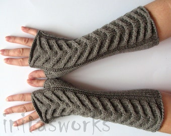 """Fingerless Gloves Long Gray Brown 11"""" Mittens Arm Warmers, Acrylic Wool"""