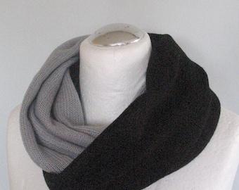 Gray Striped Infinity Scarf Cowl Wrap Black White