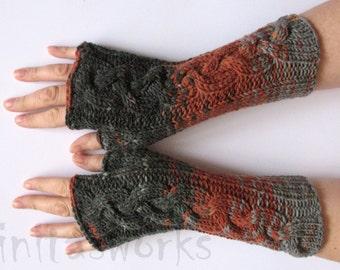 Fingerless Gloves  Brown Beige Gray wrist warmers Knit