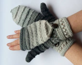 Mittens Fingerless Gloves Convertible Mittens Gray Arm Warmers Knit Soft