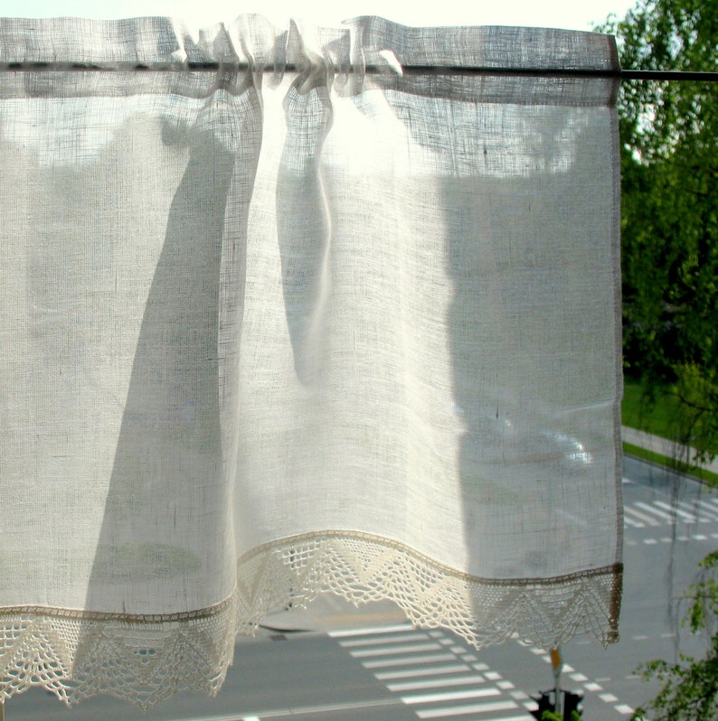 Vintage Lace Curtains Cafe Curtains Washed Linen White Kitchen Curtains Lace Panels Curtains White Curtains Burlap Curtains Panels Flowers