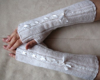 Fingerless Gloves Mittens Arm Warmers White Long Corset