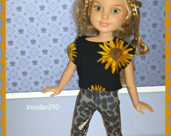 """BFC Ink Doll Clothes, Best Friends Club Sunflower T Shirt Top, Patched Capri Leggings, Handmade for 18"""" BFC Dolls by traveller240"""