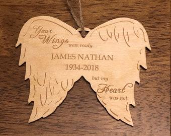 Ornament- Memorial Personalized Angel Wings