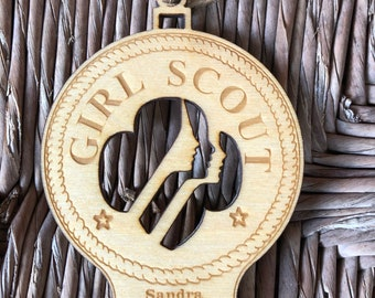 Ornament-Scout Girl - Laser Engraved