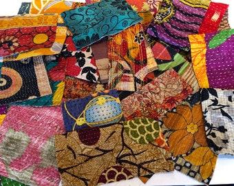 Vintage Indian Kantha Quilt Scrap Pack