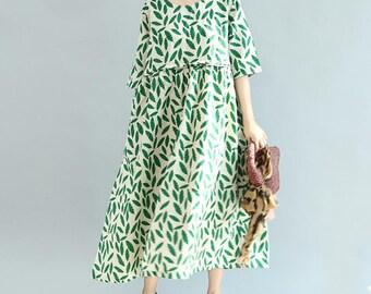 8071b6728c0 Green linen dress
