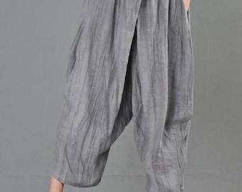 bbdbef87449b Linen pants, linen harem pants, Pleated linen pants, womens pants, Summer  pants