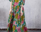 Women summer long dress, green cotton maxi dress, long Party Dress, Prom Dress
