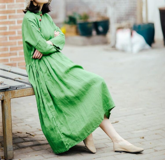 77d775b2fb1 Women Maxi dress Loose Fitting dress green Dresses for
