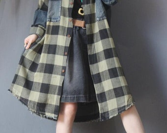 Autumn coat, retro Midi windbreaker, casual asymmetric coat, large size coat