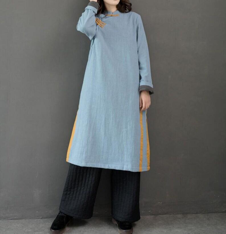 ec09b6560318 Light blue linen dress winter dress Standing collar dress | Etsy