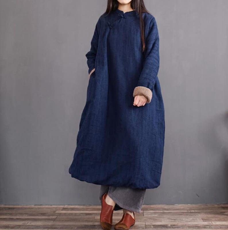 03ebb9d2cbf1 Women Stand collar Winter dress loose Plus velvet overcoat | Etsy