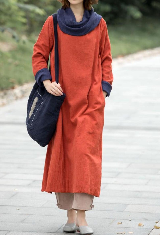 1213263c0961 Women's long Dresses Linen Maxi dress long sleeves | Etsy