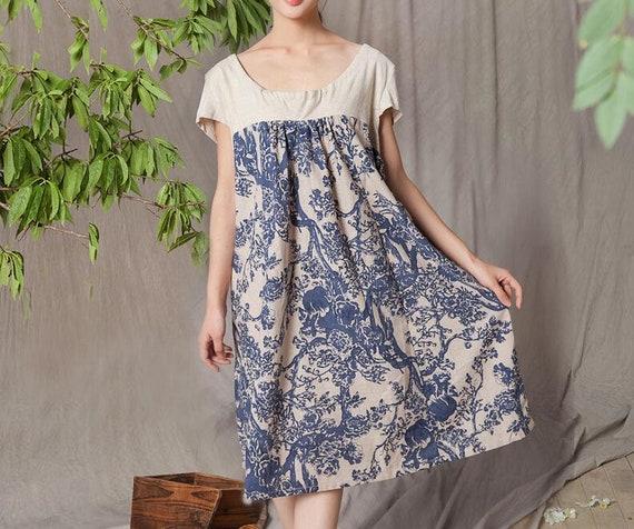 577ba712d6 Linen Short sleeve dress Summer dress women Princess dress