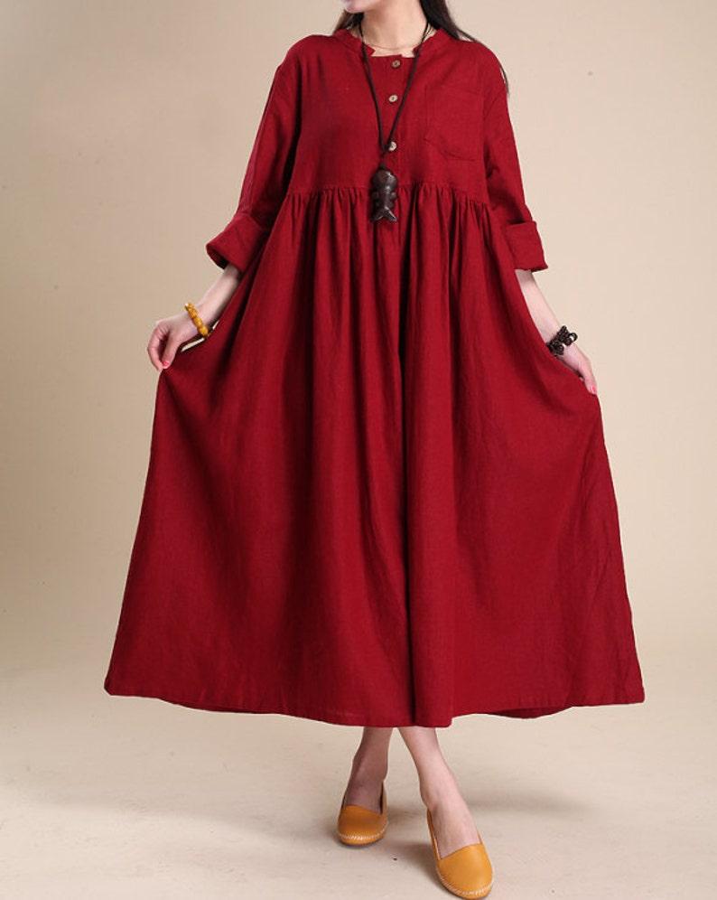 Robe Maxi en lin robe longue en coton robe de couleur unie   Etsy