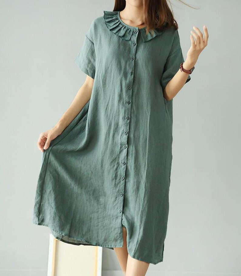 d3608bef578 Linen dress dark blue dress military green dress shirt