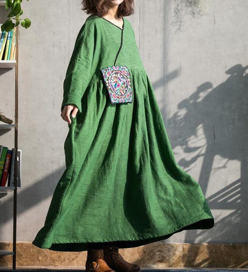 abdff34c98c9 Cotton linen maxi dress in green long sleeves dress