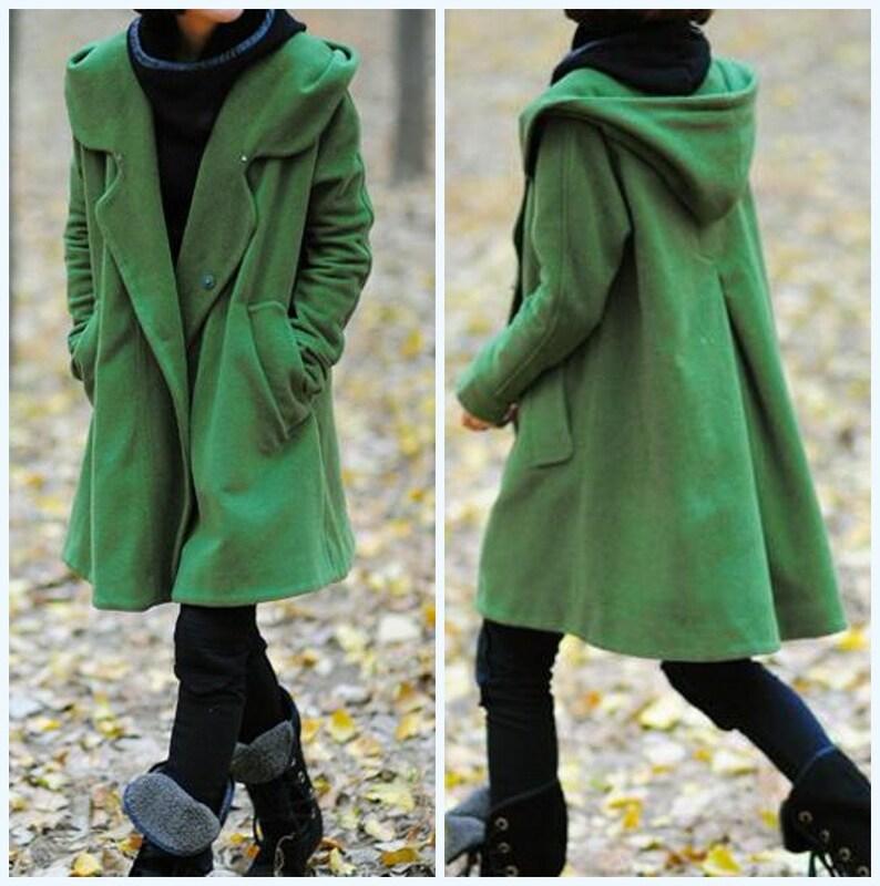e804d4920508d Wool Coat Women s winter Coat maxi Coat Grass green