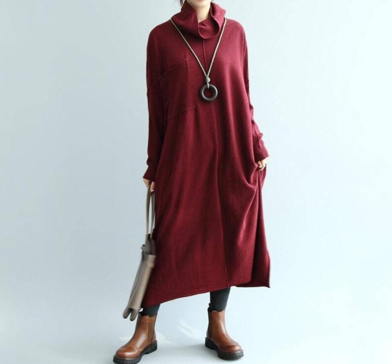 d357cb89fa52 Knitted Dress Maxi Dress Khaki loose fitting dress Long Red