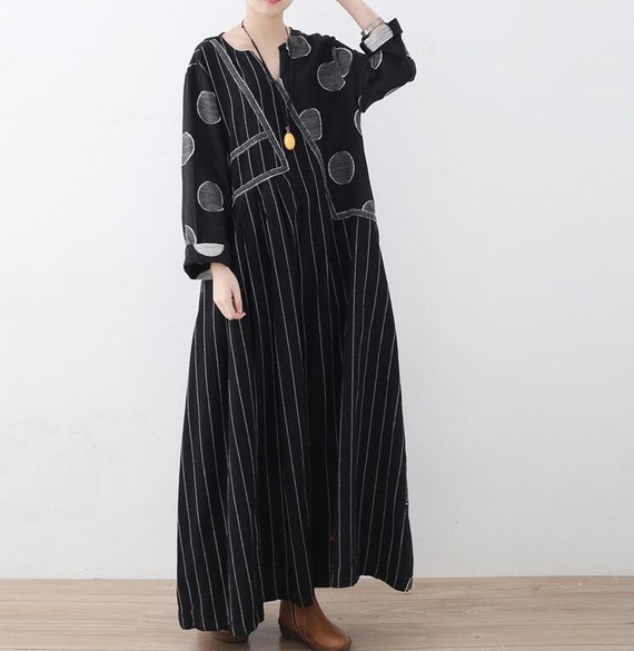 086a3c0a363 Long linen dress in black large size Women s Dresses