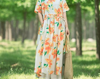 Linen dress in flower summer dress loose dress Short sleeve dress  long dress boho dress maxi dress