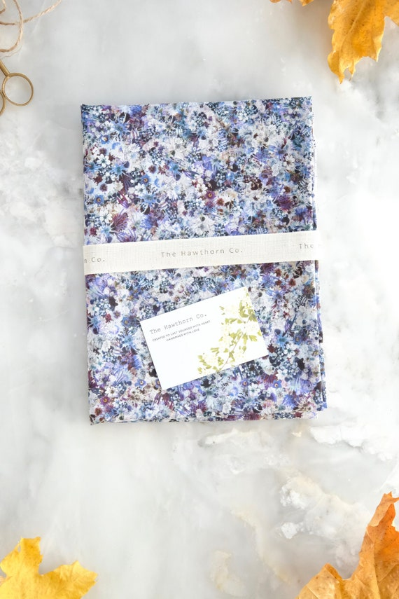 Extra Extra Large  Floral Reusable Fabric Gift Wrap / Gift Wrap / Scarf / Frosty Morning