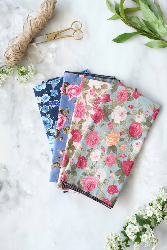 Reusable Fabric Gift Wrap / Floral Gift Wrap / Large Floral Print/ Waste Free