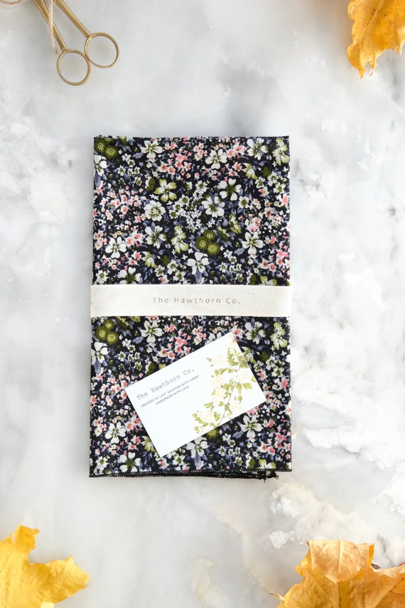 Reusable Fabric Gift Wrap / Large Gift Wrap / Pocket Square/ Spring Pink and Green Floral