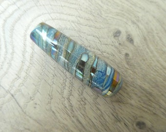 Light pull Metallic blue and blue ivory glass approx 61mm long