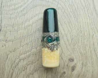 Dark Teal green and ivory glass beach themed light pull approx 58mm long