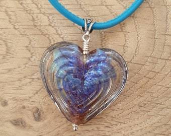 Purple prisim heart bead necklace on turquoise stitched leather