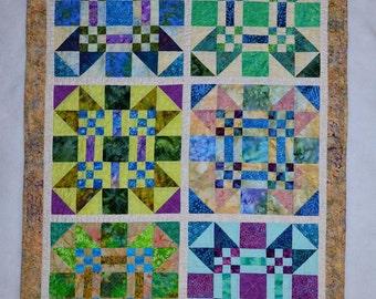 Handmade Quilt - Throw - Lap -Baby - Batik - Duck Duck Goose Patchwork  Batik Quilt  #1