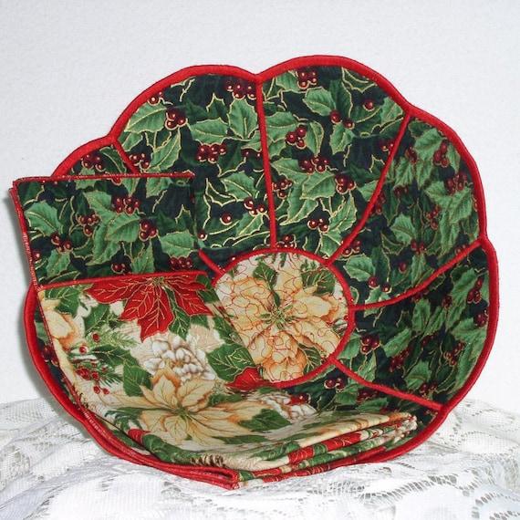 Fait à la main - bol à pain - tissu - réversible - ronde - festonné - Large - rouge et blanc Poinsettias tissu bol en pain w / serviette en tissu