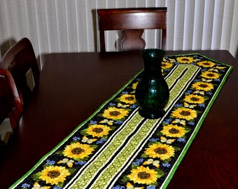 Quilted Table Runner - Sunflower and Butterflies Table Runner 2