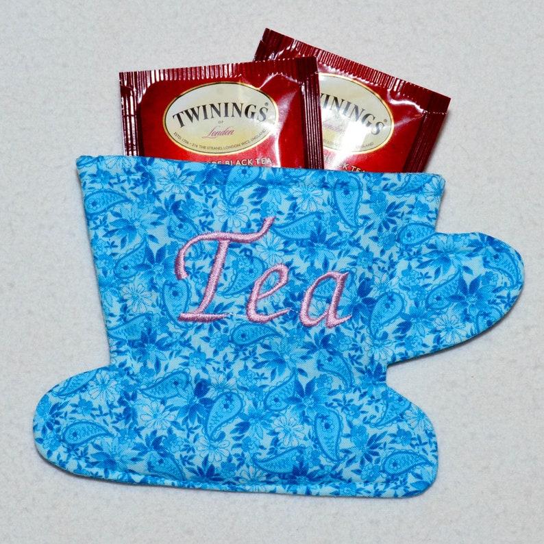 Tea Cup Teal Floral and Paisley Print on Light Teal Tea Cup Tea Bag WalletHolder for Your Purse Tea Bag Wallet